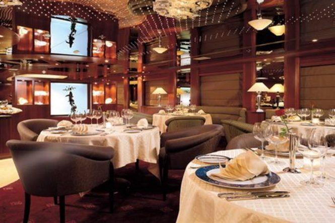 The formal dining room aboard M/Y LAUREN L
