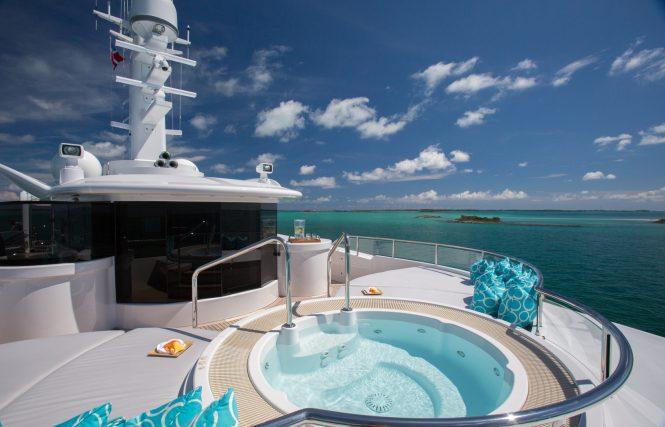 The sundeck Jacuzzi aboard motor yacht DREAM