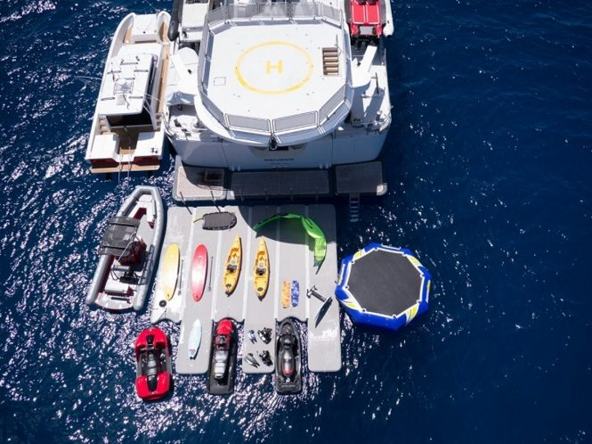 The water toys on display aboard luxury yacht SENSES