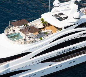 Luscious luxury yacht ILLUSION V available for New Year Bahamas and Caribbean charters