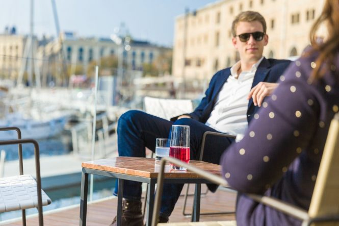 Relaxing at the One Ocean Port Vell Marina
