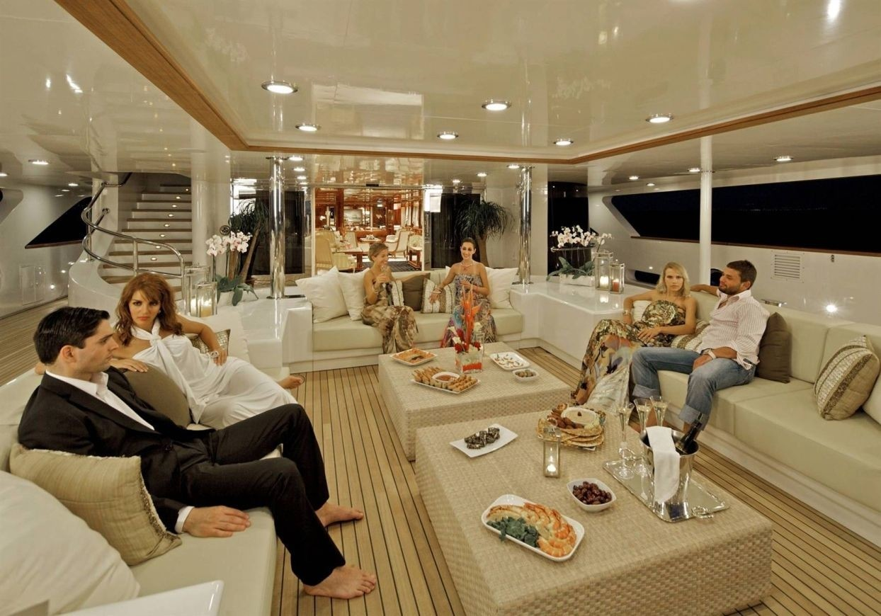 Getting ready to party aboard O'MEGA available in Croatia