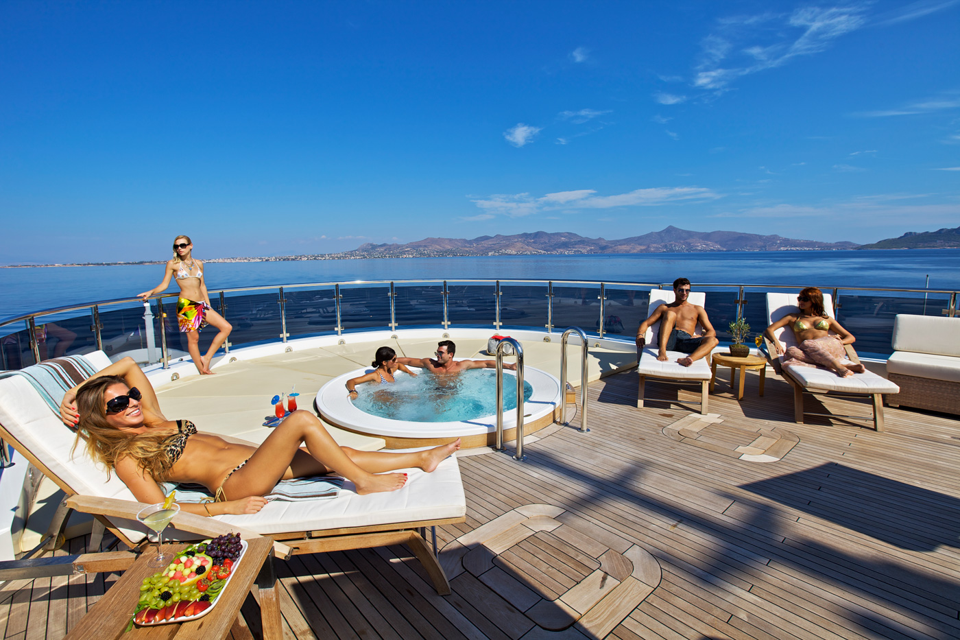 Relaxing after a great night out aboard O'MEGA available in Croatia