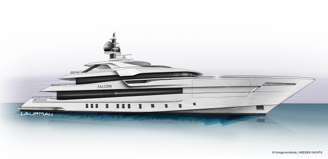60m Project Falcon designed by Omega Architects under construction at Heesen Yachts