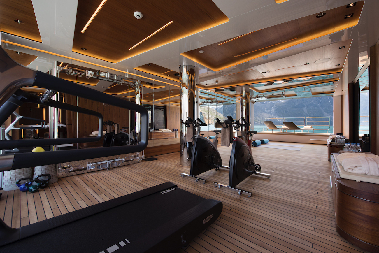 CLOUDBREAK onboard gym with amazing views and access to the beach club —  Yacht Charter & Superyacht News