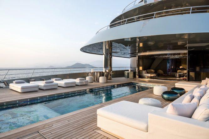 Luxurious pool aboard SAVANNAH by Feadship