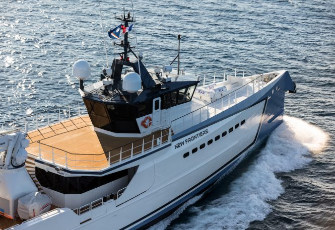 NEW FRONTIERS luxury yacht support vessel by DAMEN - aerial close up