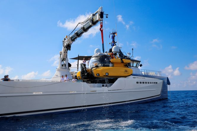 NEW FRONTIERS - luxury yacht support vessel by DAMEN with submersible