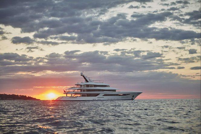 Yacht JOY with Ocean Sunset - Copyright Feadship