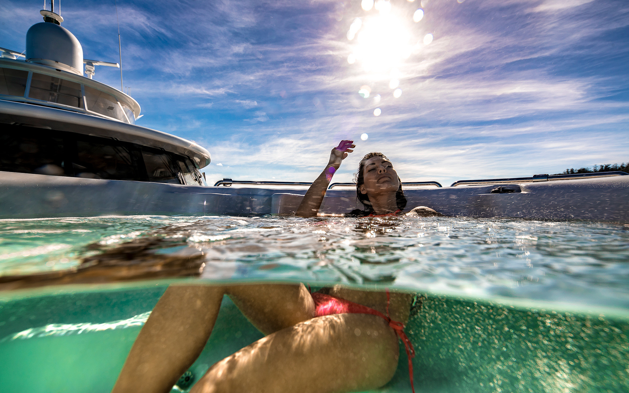 relaxing in the onboard Jacuzzi