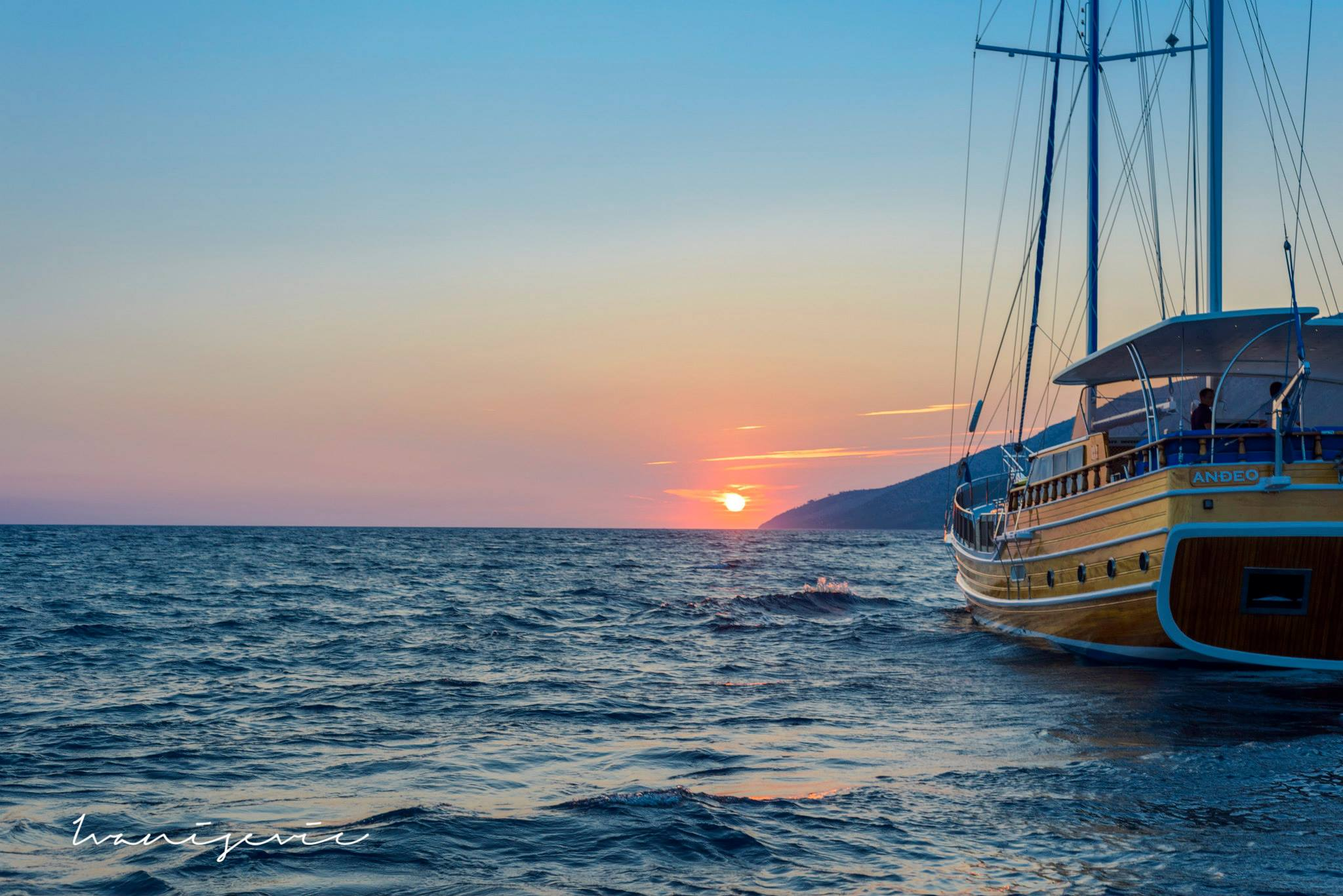 ANDEAO gulet in Croatia at sunset
