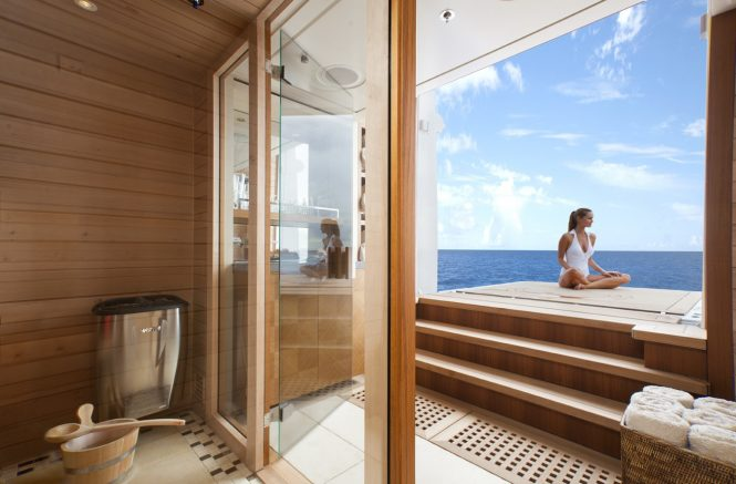 Meditation and relaxation aboard Lady Britt - sauna and spa area