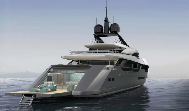 Rossinavi Vector 63M rendering aft view