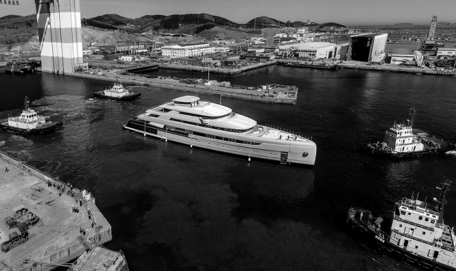 88.5m ILLUSION PLUS mega yacht cruising for the first time - Credit Pride Mega Yachts
