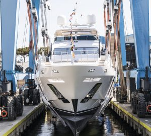 Benetti Fast 140' superyacht IRONMAN hits water (BF206)