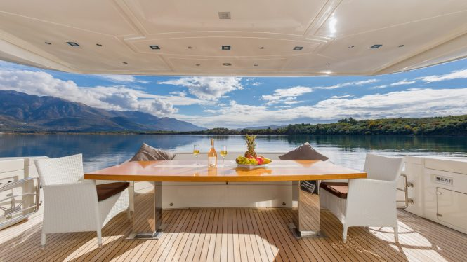 aft deck with table for alfresco dining