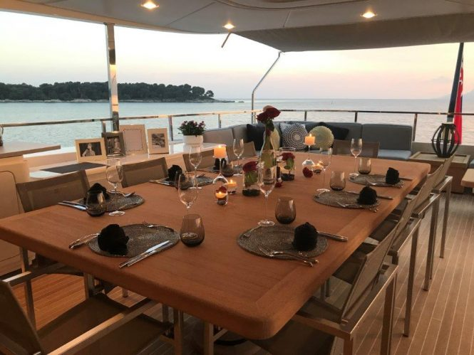 evening dining set up on the aft deck