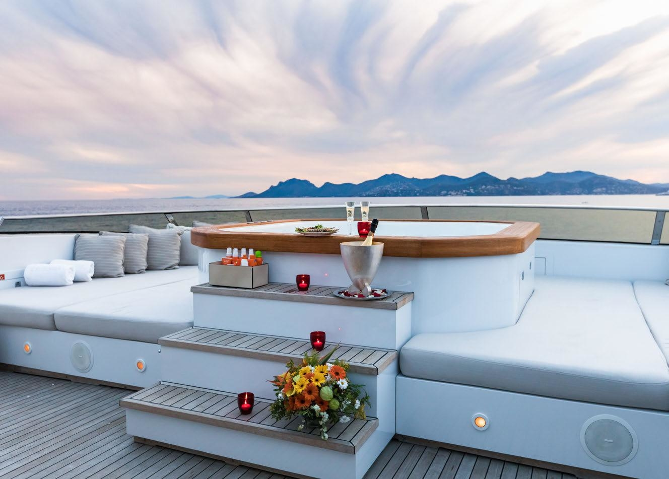 relax in the onboard jacuzzi