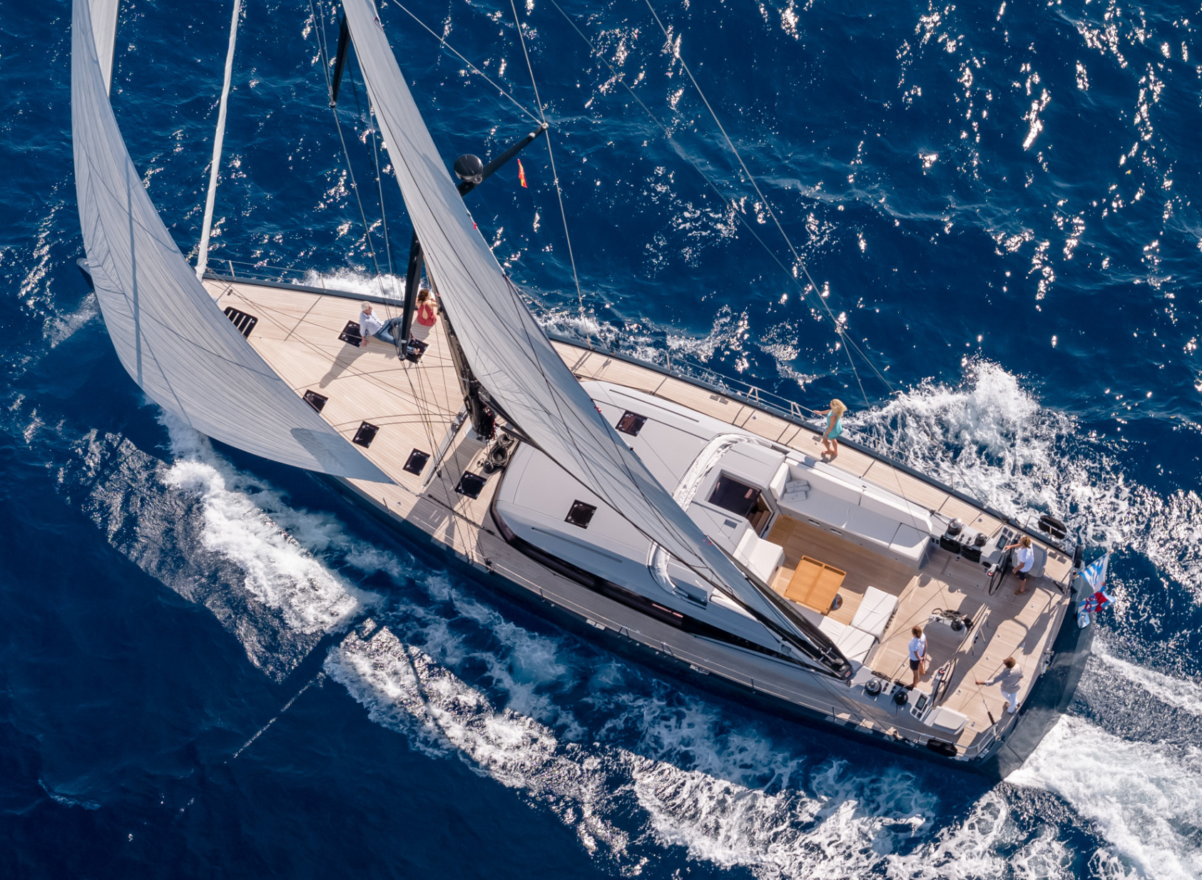 Aerial view of the sailing yacht J SIX
