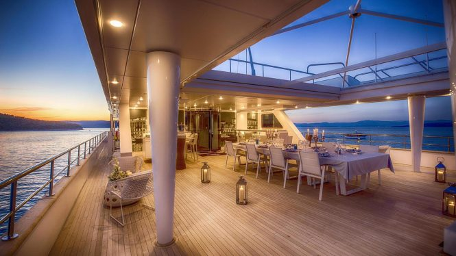 Fabulous aft deck romantic candle-light dinner aboard KATINA