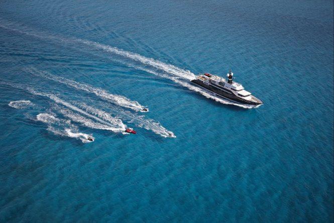 HIGHLANDER superyacht cruising with water toys