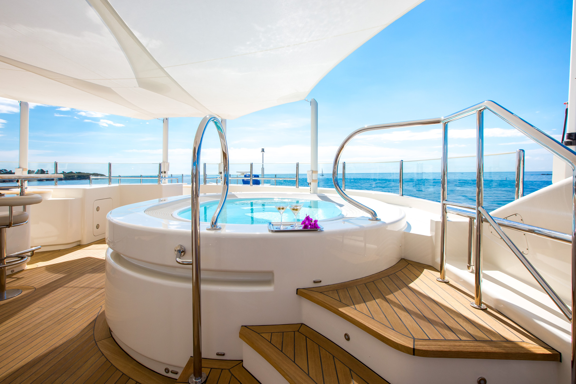 Jacuzzi aboard superyacht Beluga - great addition to any charter vacation