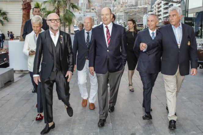 Riva 110' Dolcevita World Première. From left: Guilherme Siqueira; Domenico Dolce; S.M. Prince Alberto II di Monaco; Alberto Galassi; Bernard D'Alessandri