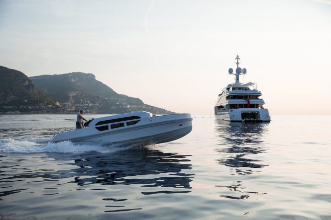 Superyacht 11.11 with tender - Photo Jeff Brown