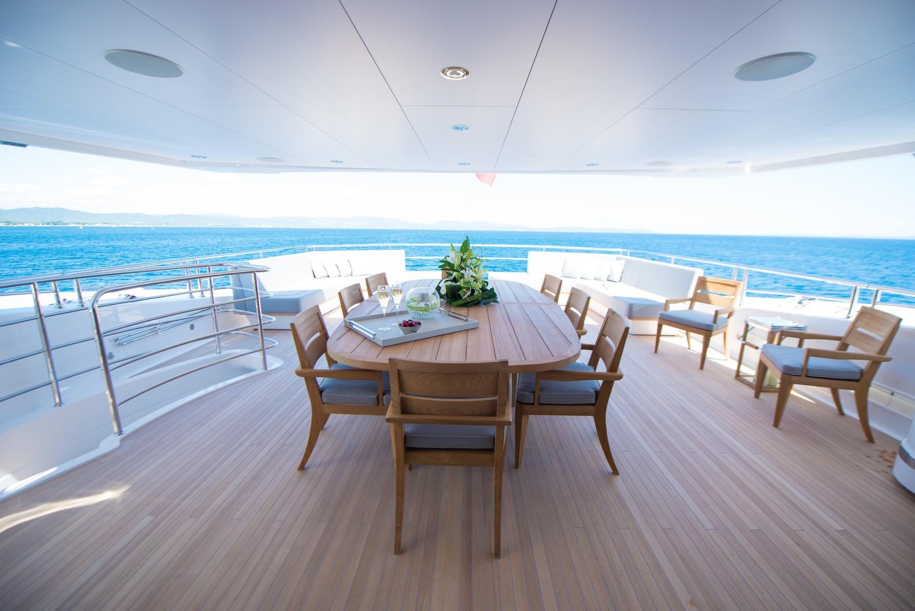 aft deck dining area aboard JACOZZAMI