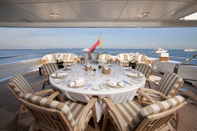 alfresco dining set up aboard MARLA
