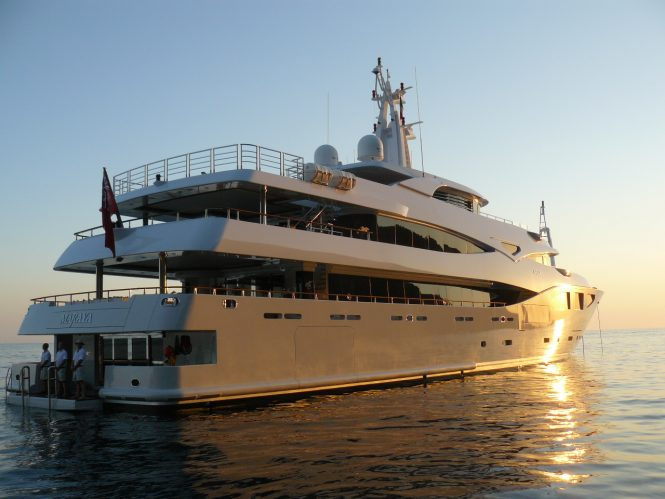 Outstanding motor yacht MARAYA at sunset