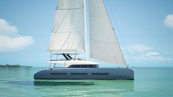 Profile of Lagoon Seventy 7 catamaran - rendering - sistership