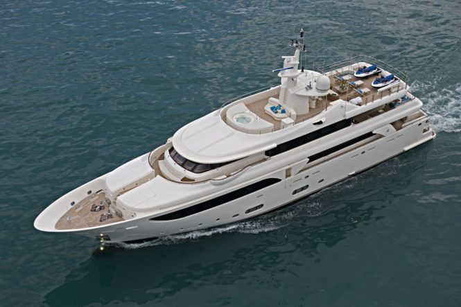 Aerial view of the superyacht EMOTION2