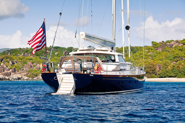 Aft view of MARAE at anchor