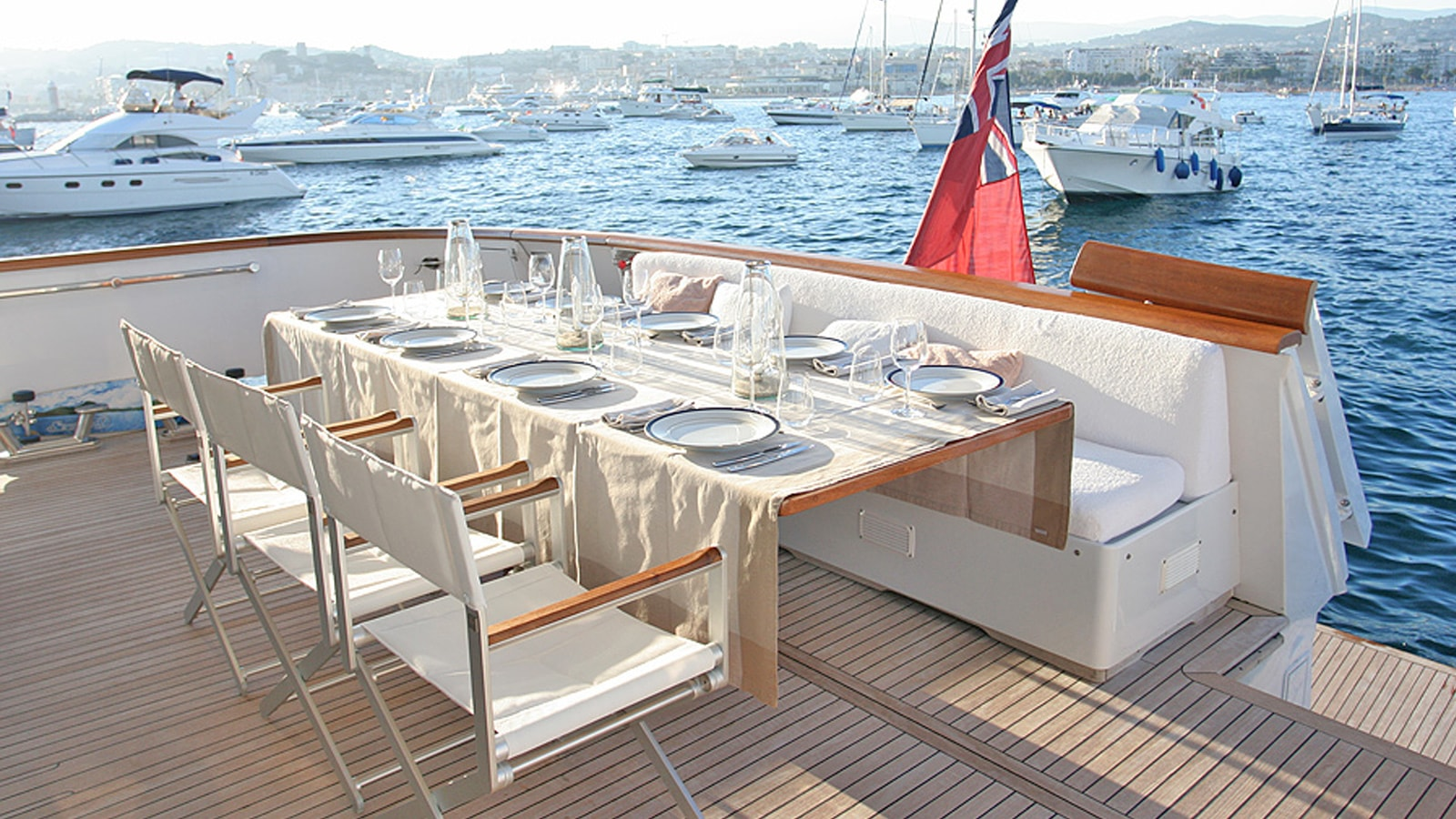 An alfresco dining option to enjoy on yacht charter