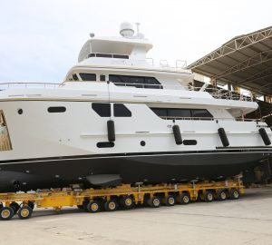 Bering 80 motor yacht BEYOND CAPRICORN (ex VEDA) hits water after refit
