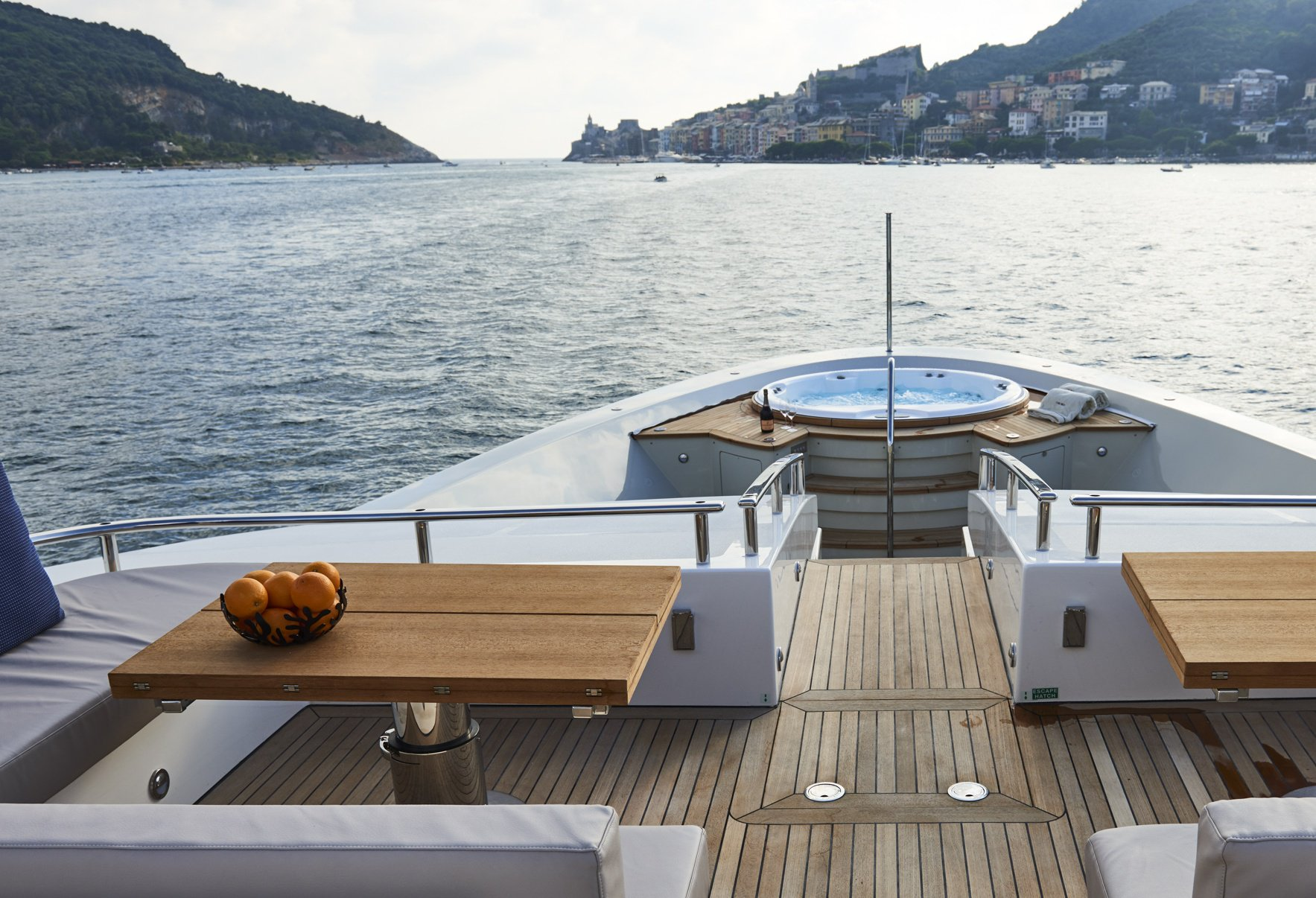 Foredeck Jacuzzi aboard a luxury superyacht