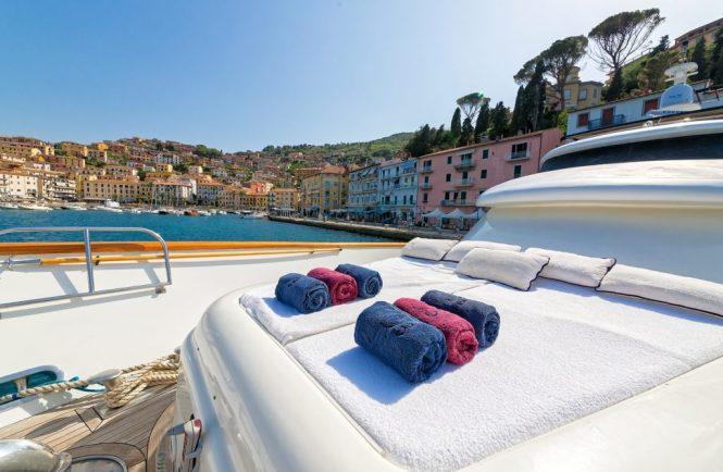 Forward sunpads aboard the yacht
