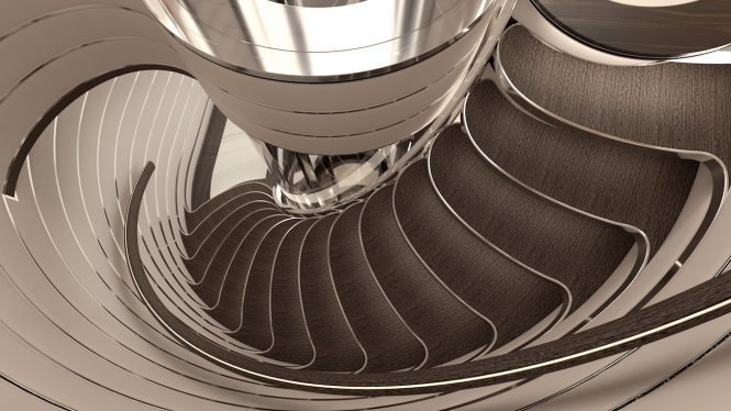 Project COSMOS interior staircase designed by Sinot Exclusive Yacht Design