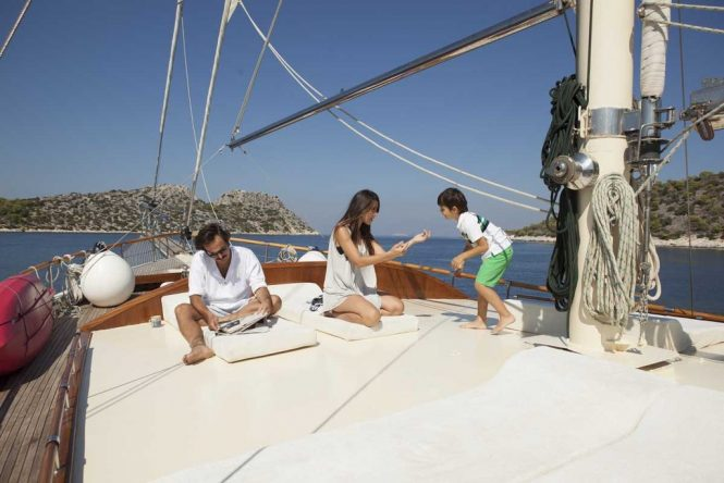 Relaxing aboard the traditionally-styled gulet