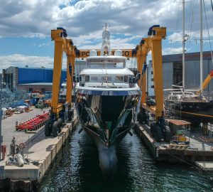 40m explorer yacht STELLA DI MARE hits water at CBI NAVI
