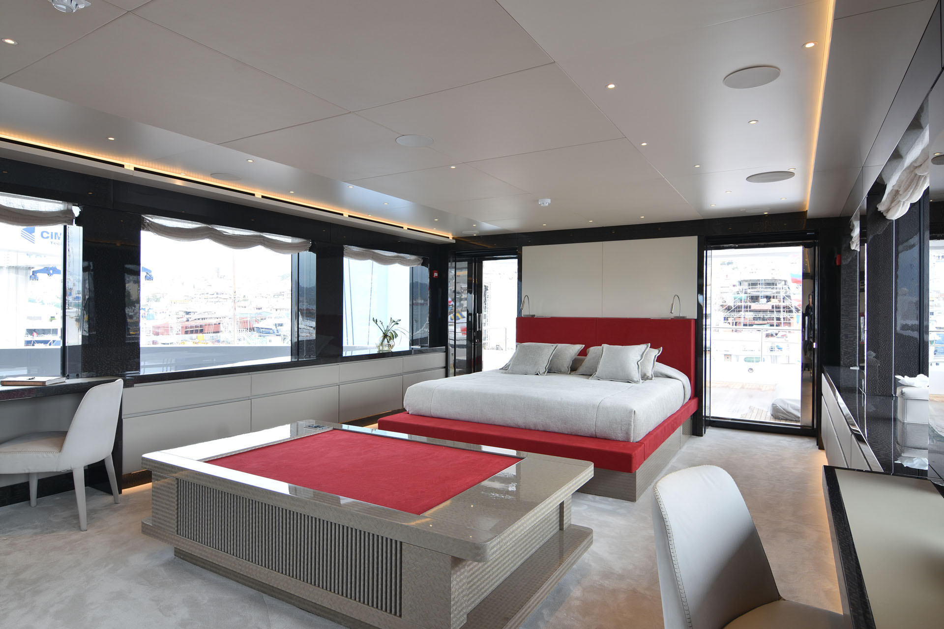 Spacious and bright master suite on main deck