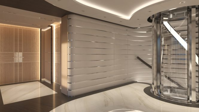 Staircase and elevator aboard PROJECT COSMOS - Sinot Exclusive Yacht Design
