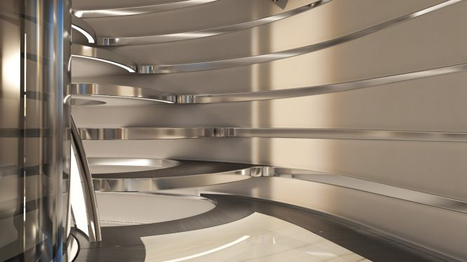 Staircase detail for Heesen yacht Project Cosmos by Sinot Exclusive Yacht Design