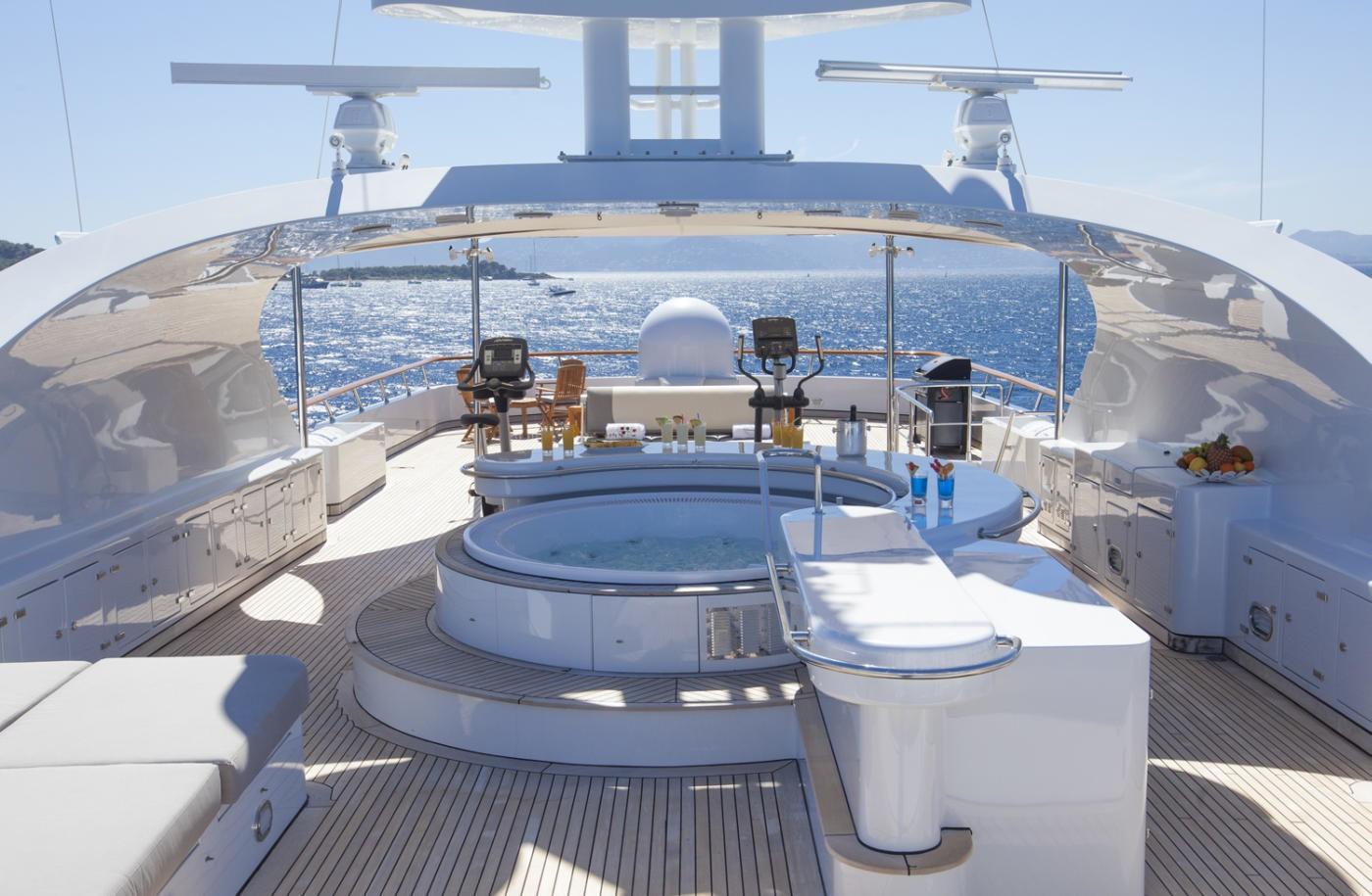 Sun deck Jacuzzi aboard LADY ELLEN II superyacht