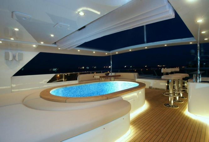 Swimming pool aboard TATIANA by night