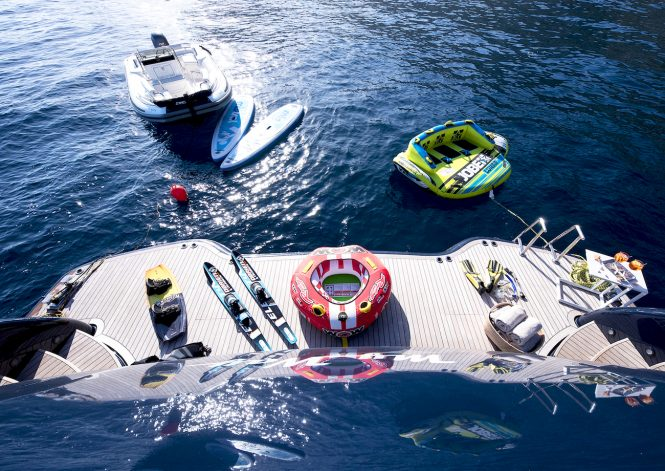 great selection of water toys for endless fun during yacht charter