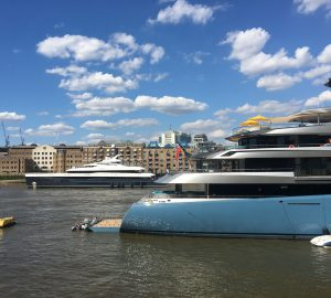 Abeking & Rasmussen superyachts Aviva and Elandess attract attention outside Tower Bridge