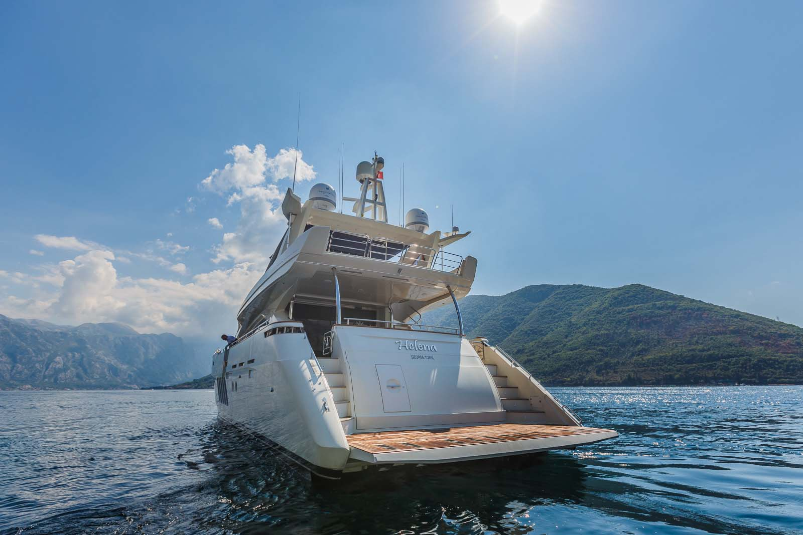 Aft view of the yacht