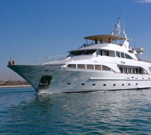 35m motor yacht DXB offering discount on luxury charter vacations in the Western Mediterranean
